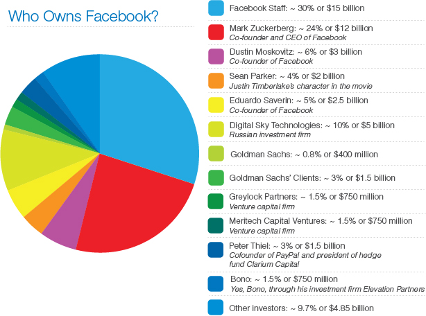 Actual Owners Of Facebook  Pie Chart  The Dnetworks