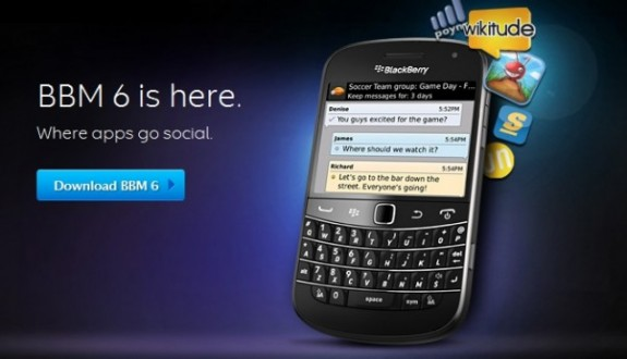 RIM releases Blackberry Messenger 6 with great features like app intergration and Application and game sharing