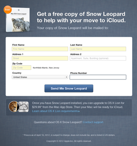 Free Mac OS X Snow Leopard DVD from Apple for MobileMe users
