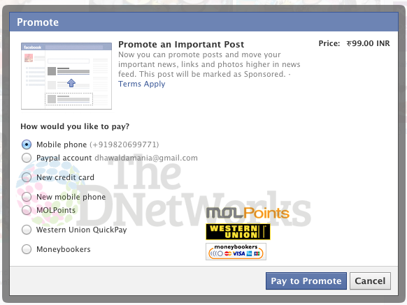 Facebook starts accepting payment via Prepaid Phone credit, Western Union, MOL and more