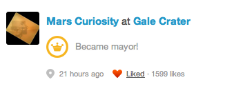 Curiosity Rover just became the Mayor Gale Crater on Mars