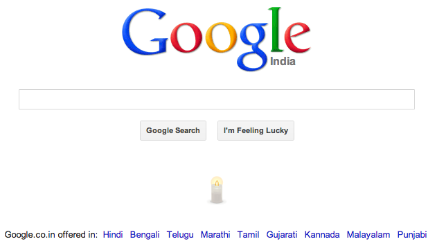 Google mourns Damini's death, lights up a candle on its homepage