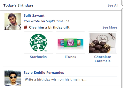 Send Starbucks/iTunes Gift Cards and more directly to your Friend on his birthday via Facebook