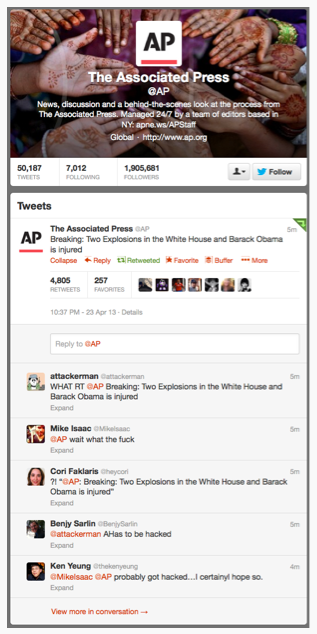 Associate Press Twitter account gets hacked, Tweets about an Explosion at the White House