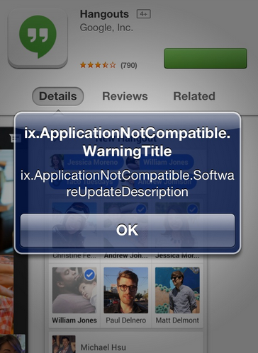 Solved: Google+ Hangouts installation error on Jailbroken iPhone