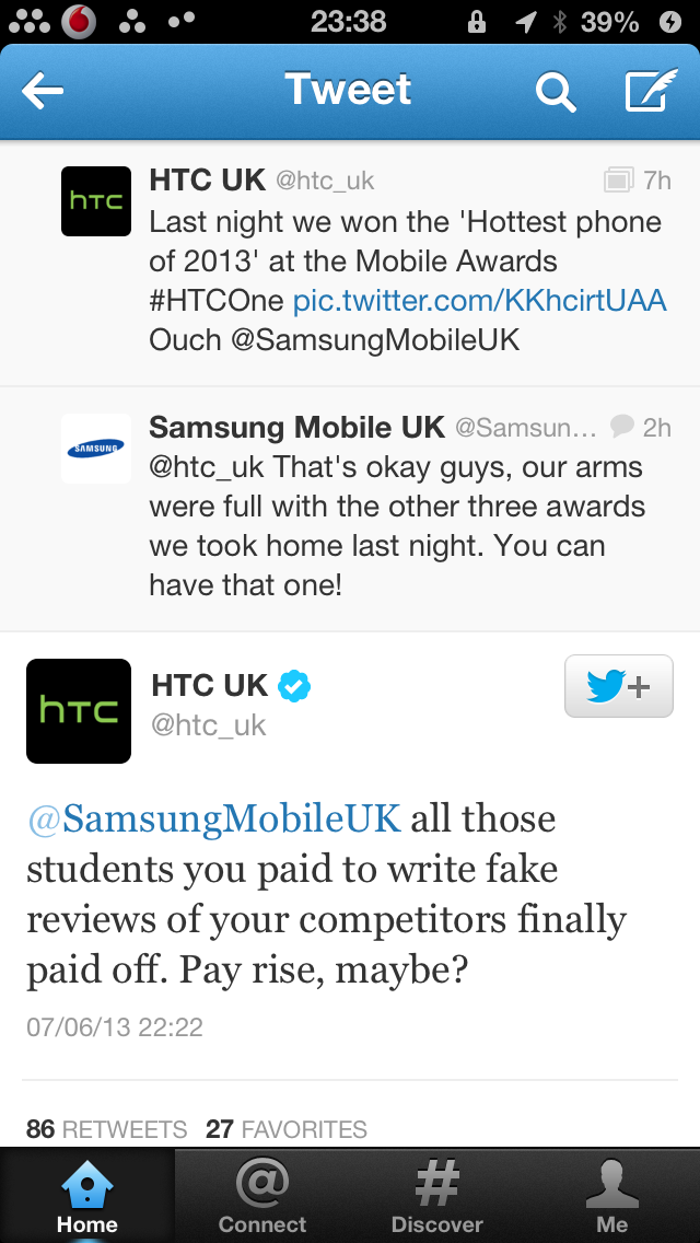 HTC, Samsung Fight it out on Twitter