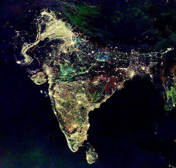 india during diwali satellite image