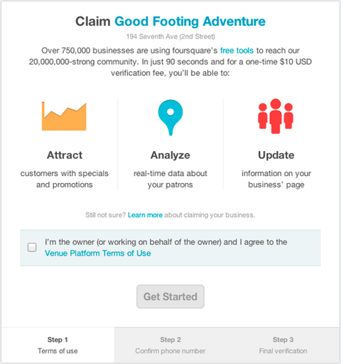 Instantly verify your business on Foursquare for $10