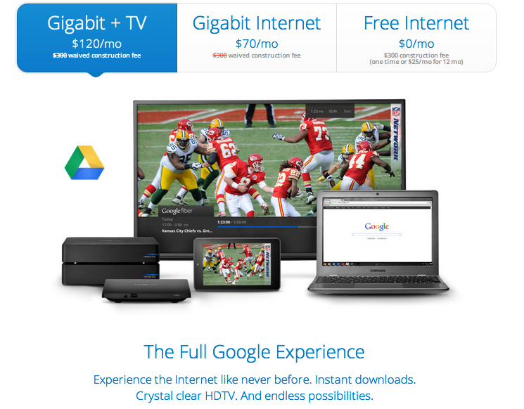 Google Fiber: 1000Mbps Internet Connection with Fiber TV and Nexus Tab 7 as a remote